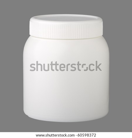 plastic container for medicine, isolated on grey  background