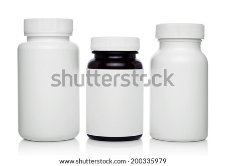 plastic medical containers  for pills isolated on white - stock photo