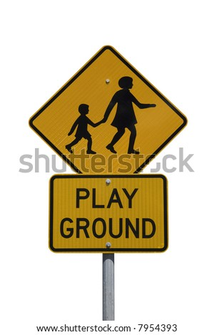 """Playground"" warning sign isolated on a white background"