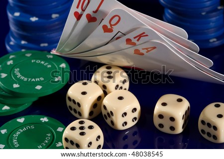 playing card  chips, and dice