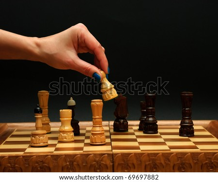 playing pieces for chess - stock photo