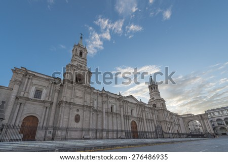 Plaza De Armas and Cathedral of Arequipa city, Peru - stock photo