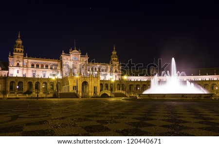 """Plaza de Espa���±a"" Spanish Square at night in Sevilla, Spain. - stock photo"