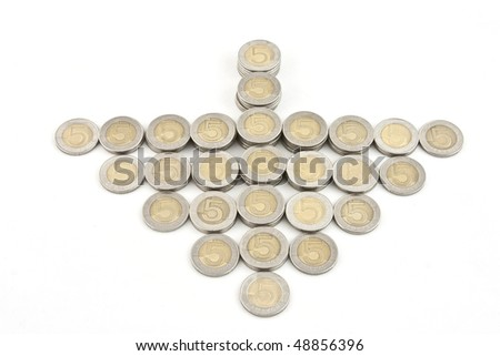 5 pln polish coins isolated on white background