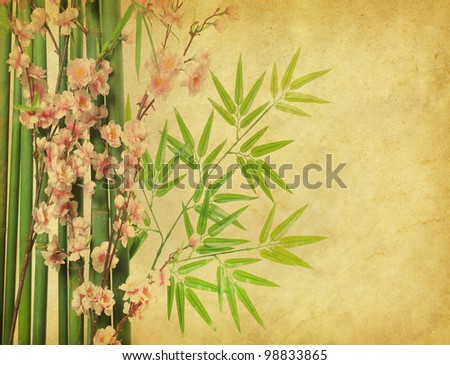 plum blossom and bamboo on old antique paper texture - stock photo