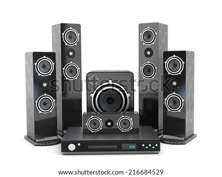 5 plus 1 Speaker set isolated on white background.