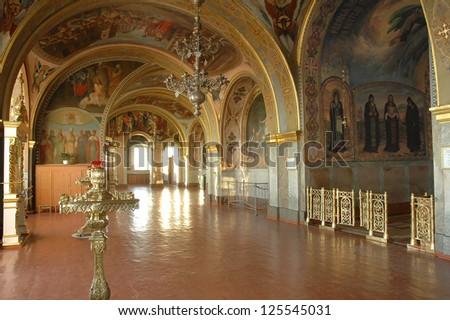 POCHAYIV, TERNOPIL, UKRAINE. - MAY 19:  Church interior.  Pochayiv Lavra Orthodox monastery. Cave Church of St. Iova.  May 18, 2007.  Pochayiv, Ternopil, Ukraine. - stock photo