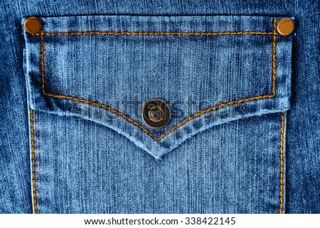 pocket of jeans. Background of denim texture - stock photo