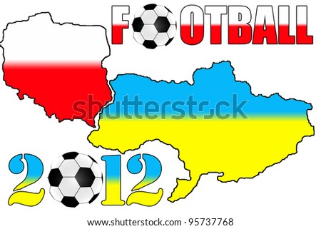 2012 Poland & Ukraine maps on the white background - stock photo