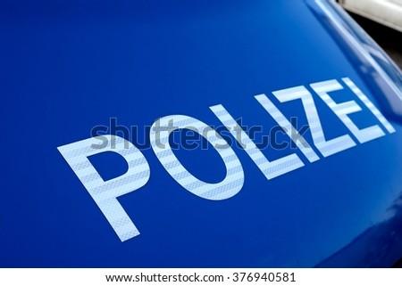 police car on the roadside - stock photo