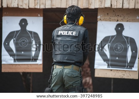 .Police special operations practicing in fire pistol shooting.  - stock photo