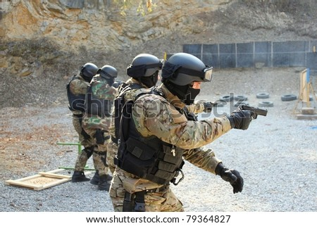 police unit in training - stock photo