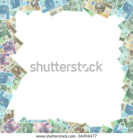 Polish money frame WITH CLIPPING PATCH - stock photo