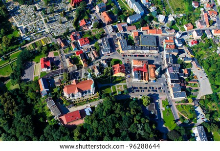 Polish  Otmochow town from the sky