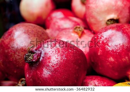 Pomegranates on the Jewish New Year Rosh haShanah - stock photo