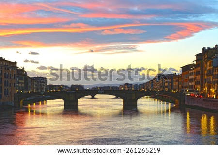 Ponte alla Carraia medieval Bridge at sunset. Florence, Italy. HDR. - stock photo