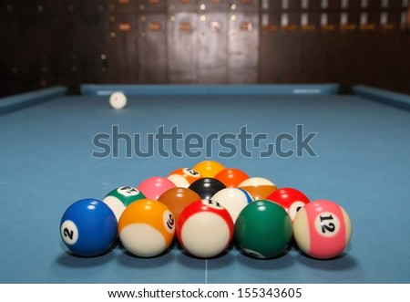 Pool balls ready to start a game