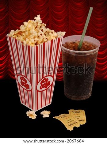 Popcorn, soda, & tickets isolated on white - stock photo