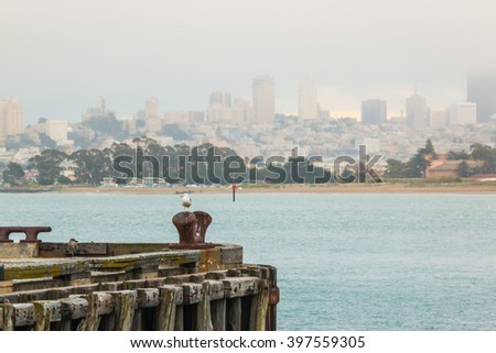 port and san francisco city background. - stock photo