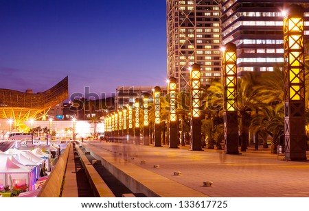 Port Olimpic - center of nightlife at Barcelona, Spain - stock photo