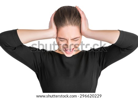 portrait angry woman screaming, wide open mouth, hysterical isolated white background. Negative human face expressions, emotion, bad feelings reaction. Conflict, confrontation concept - stock photo