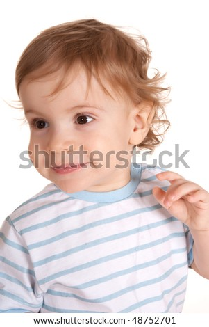 portrait baby boy , isolated on white background