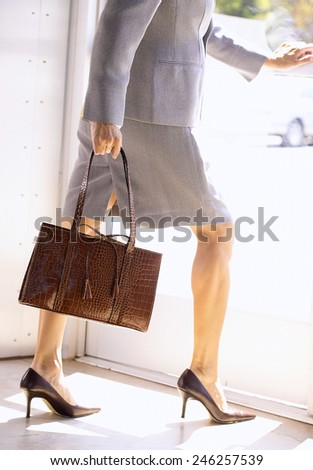 portrait of a business woman walking with briefcase - stock photo