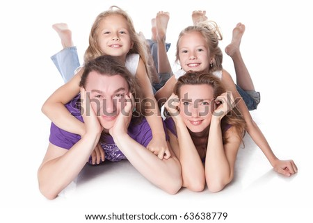 portrait of a healthy happy family - stock photo