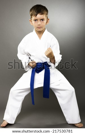 Portrait of a karate kid  in kimono ready to fight isolated on gray background - stock photo