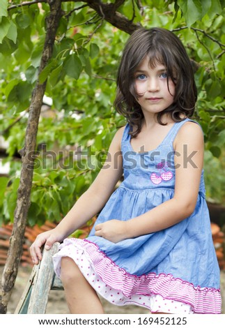Portrait of a little girl sitting on a ladder on a beautiful summer day - stock photo