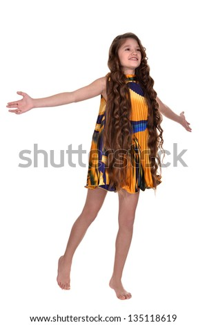 portrait of a lovely young girl on a beige background