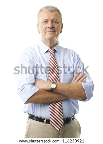 Portrait of a senior businessman smiling against white background - stock photo