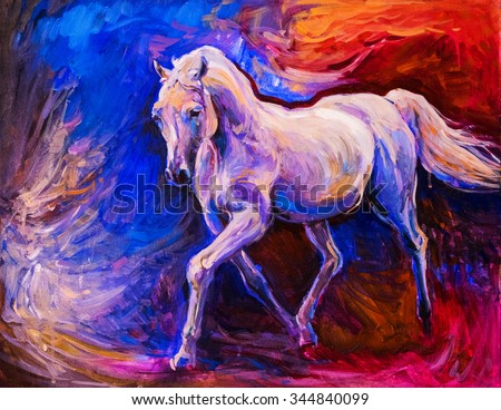 portrait of a white horse. Oil painting on canvas. Modern art - stock photo