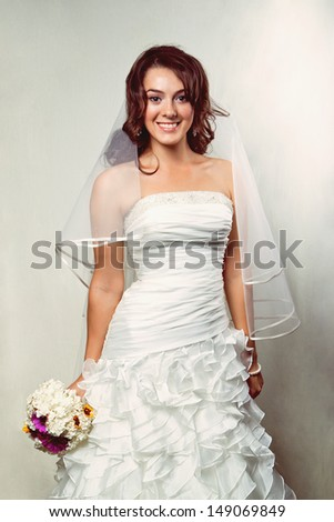 Portrait of a young bride - stock photo