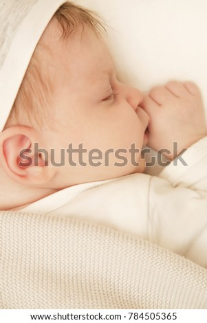 Portrait of adorable newborn baby sleeping