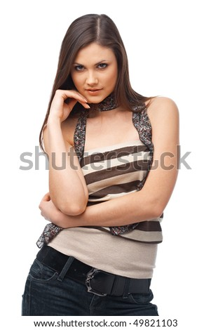 Portrait of an attractive young woman on white background - stock photo