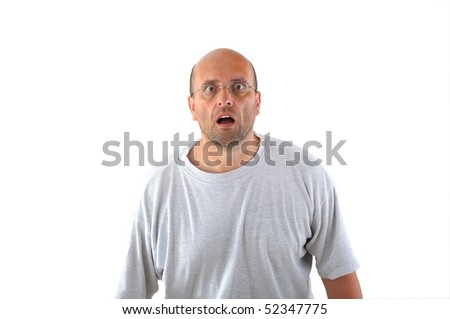 portrait of astonished man with bald head - stock photo