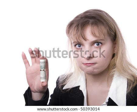 Portrait of beautiful business woman with dollar banknote in ring isolated on the white background
