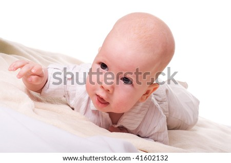 Portrait of cute surprised child (isolated on white) - stock photo