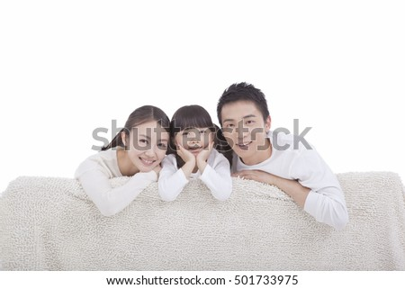 Portrait of family of three