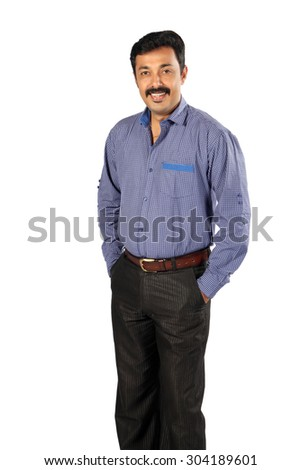 Portrait of happy smiling indian business man - stock photo