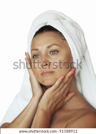 portrait of nice girl without make up in towel outdoor