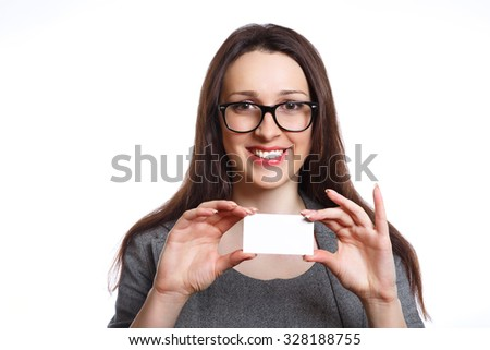 Portrait of smiling business woman on white background. Businesswoman holding a blank card.  - stock photo