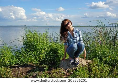 Portrait of the beautiful girl in Rostov, Nero lake - stock photo
