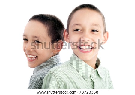 portrait of twins isolated on white happy together - stock photo