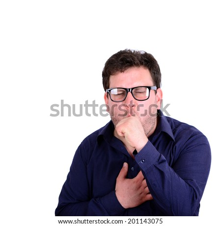 Portrait of young man coughing isolated on white - stock photo