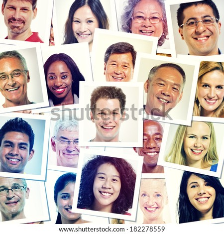 Portraits Of Multi-Ethnic Smiling People - stock photo