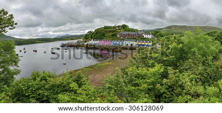 Portree before sunset, Isle of Skye, Scotland - panorama - stock photo