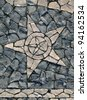 "Portugal Lisbon Belem District typical Portuguese mosaic ""calcada"" paving stones depicting a star - stock photo"