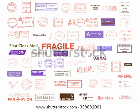 Postage meters, rubber stamps, mail labels isolated over white vintage - stock photo